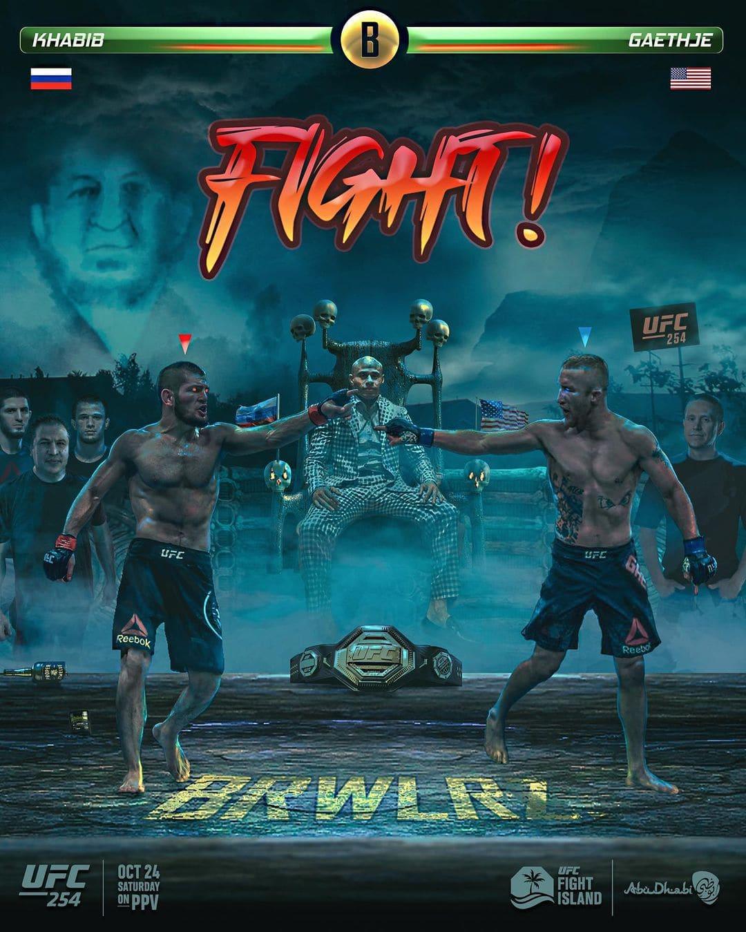 UFC 254 Official Poster Khabib Nurmagomedov vs. Justin Gaethje